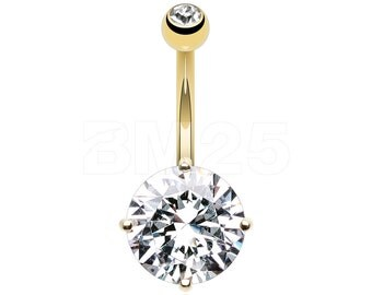 14 Karat Gold Grand Sparkle Gem Belly Button Ring