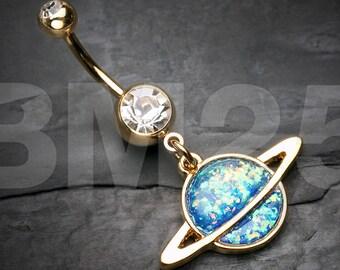 Golden Opal Galaxy Planet Belly Button Ring