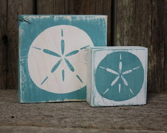 Sand Dollar Blocks, Sand Dollar Decor, Summer Decor, Beach Decor, Weathered Sand Dollar Blocks