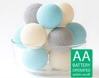 20 Cotton Ball LED String Lights AA Battery Operated, Wedding Light, Patio Party, Decor, Outdoor, Bedroom - Pastel Gray Cream Blue
