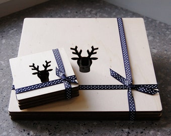 Wooden Stag Placemats (Set of 4)