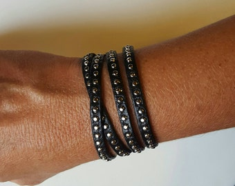 Leather Studded Bangle, Leather Bangle, Metallic Studded Cuff, Double Wrap Leather, Everyday Bracelet, Leather Cuff