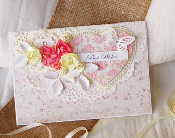 Exlusive Handmade Wedding Card, Special Wedding Card, White Wedding Card, A5 Wedding Card, Large Wedding Card, Wedding Card in the box