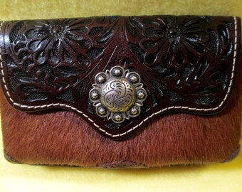 Hand tooled Western Cell Phone case for a smaller cell.