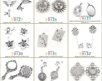 Jewelry Making Charms Pendant Key of Time Sun Helius Oval Cabochon Base Blank Flower Spades A Mirror CSSML NDSMD Cross Round Setting