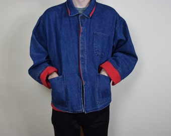 Blue and Red Denim Button Up Jacket