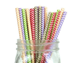 Assorted Chevron Striped Party Paper Straws 25pcs CSS250013 Just Artifacts Brand