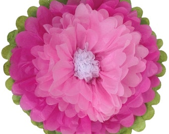 """Tissue Paper Flower 10"""" Fuchsia Baby Pink White - Item Number:TPF100004 - Just Artifacts Brand - Paper Flower for Parties and Events"""