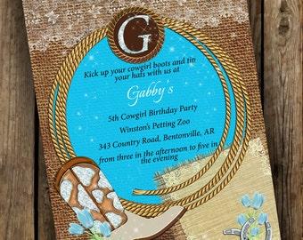 Cowgirl birthday invitation, Country birthday invitation