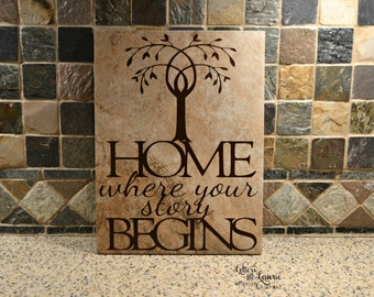 Unique Wedding Gift,  Home where your story begins, Family Gift, Family Tile, Housewarming Gift