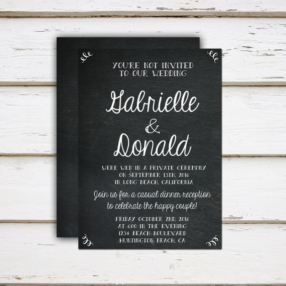 Printable Elopement Reception Invitation Youre not Invited Funny