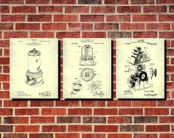 Vending Machine Patent Prints Set 3 Man Cave Wall Art Gumball Machines Vending Machine Wall Art Posters Vending Blueprints