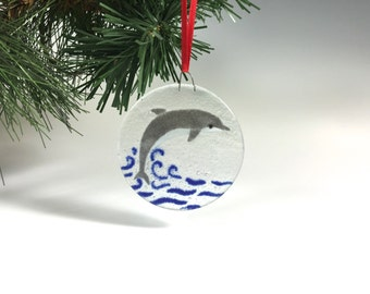 Dolphin Ornament Fused Glass