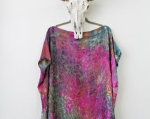 Handmade burnout silk caftan magenta/gold/teal,  Tie dyed boho caftan, Bohemian clothing, Made in NYC