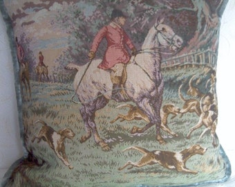 Foxhunting Tapestry Pillow Cover 20 inch