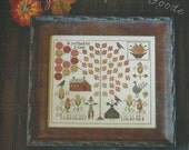 "PLUM STREET SAMPLERS ""Bounty Sampler"" | Original Autumn Cross Stitch Pattern by Paulette Stewart | Fall, Harvest, Pumpkin, Corn, Leaves"