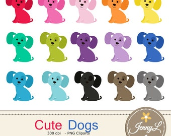 Dog Clipart, Puppy, Animal Digital Clipart for Planners, Digital Scrapbooking, Invitations, Stickers, Labels