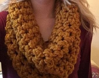 Mustard - Hand Crocheted Chunky Infinity Scarf