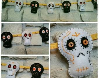 Halloween felt sugar skulls banner