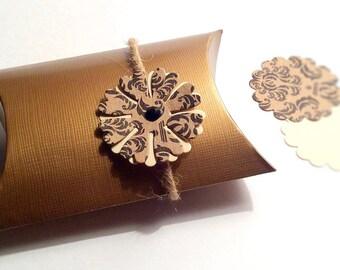 10 Golden Pillow Boxes. Gift box. Birthday/Baby Shower Favor