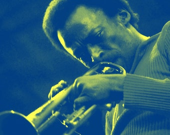Miles Davis Poster, Playing the Trumpet, Kind of Blue, Jazz Music Icon