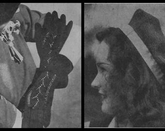 Knitting Pattern, Glove Knitting Pattern, Beret Knitting Pattern, Instant Download, PDF pattern, 1940s, Knitting Pattern Women,