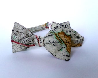 World Map Bow Tie Self Tie Cotton Freestyle Adjustable Butterfly Boy Men Extra Long Vintage Map Husband Gift for Him Traveler Gift Necktie