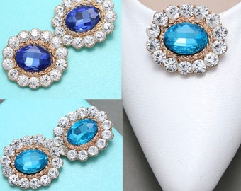 A Pair, Blue Crystal Shoe Clips,Rhinestone Shoe Clips,Wedding Bridal Shoe Clips,Gold Shoe Clips, Shoes Decoration,Bridesmaids Shoe Clips