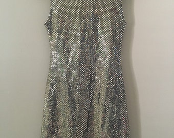 Vintage 80's Gold Foil Shift Mini Dress size Small