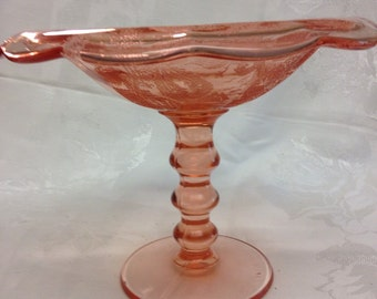 "Paden City ""Lilah Bird"" Etched Pink Depression Glass Compote"