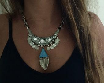Silver Bib Necklace w/ Coins