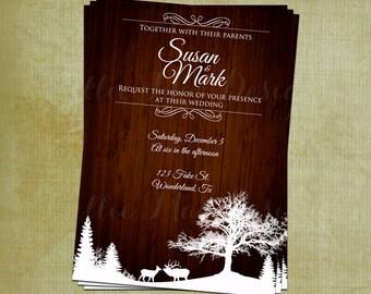 SALE 50% OFF Custom Rustic Winter Wonderland Wedding Invitation