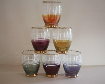 1950s drinking glasses ~ set of 6 harlequin colours Mad Men mid-century bar cart