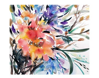 Watercolor flowers,Floral painting,Original painting,Flower painting,Yellow,Orange,Wall art,Home decor,9.5x10.5