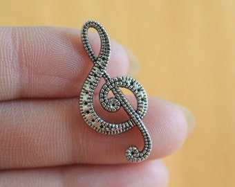 Large Silver Music Note Charms connectors for bracelet 15*31mm
