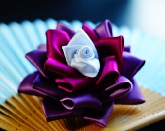 Purple and White rose Kanzashi hair clip