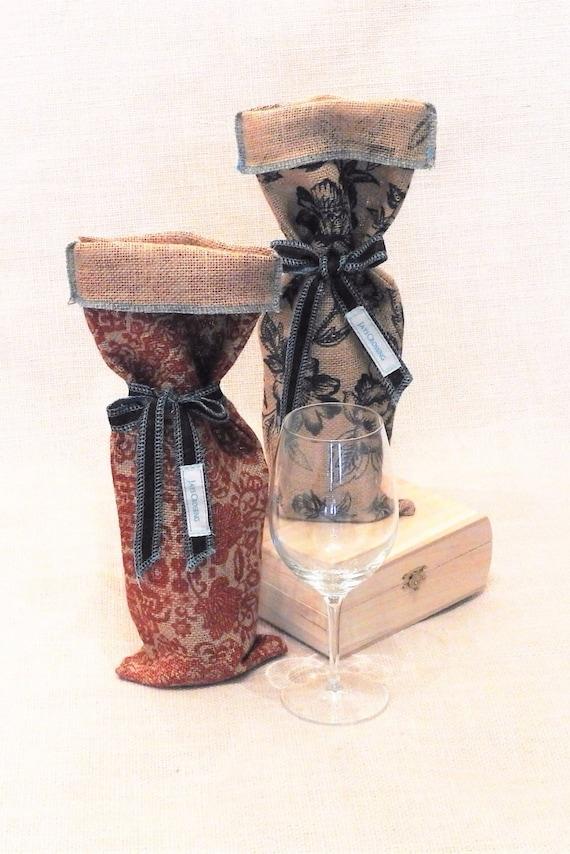 Americana decorative burlap wine gift bag for Decorative burlap bags