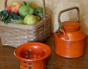 Vintage Danmark Orange Tea Kettle and Warmer, Vintage Tea Pot, Bast Handle, Denmark, Pottery, Orange Tea Pot, Green Trim, Teapot, 1950's