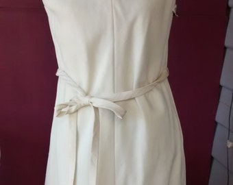 Teal Traina 60s cream silk sleeveless tunic grecian flavour