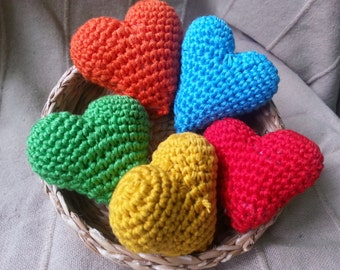 Handmade crochet heart , 3D heart, amigurumi hearts, cake topper, wedding heart, table decoration