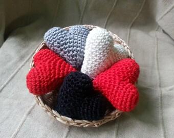 Handmade crochet heart , 3D heart, amigurumi hearts, cake topper, wedding heart, table decoration