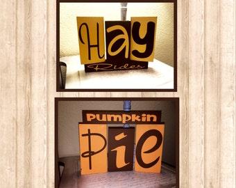 Hay Rides and Pumpkin Pie Reversible Blocks