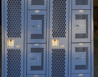 Vintage French Blue Old Gym Lockers