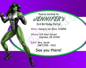She-Hulk Birthday Invitation - Printable