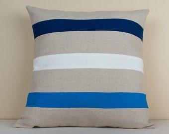 Light/dark blue and white striped natural linen cushion cover - Decorative Cushion Case - Linen Pillow Cover - Linen Home Decor