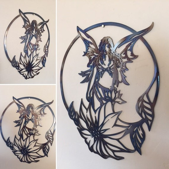 Wall Decoration Rings : Fairy flower ring metal wall art decor