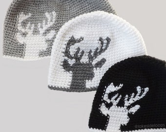 Crochet Pattern - Dylan Deer Silhouette Hat/Beanie by Lakeside Loops (includes Toddler, Child, and Adult sizes)