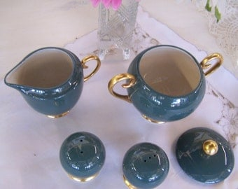 Teal and Gold Flintridge China Sugar Bowl with Lid, Creamer and Salt and Pepper Shaker