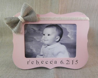 Personalized baby girl gift, Birth announcement frame