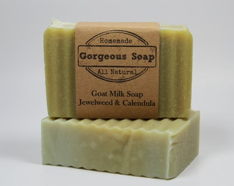 Jewelweed & Calendula Goat Milk Soap - All Natural Soap, Handmade Soap, Homemade Soap, Handcrafted Soap